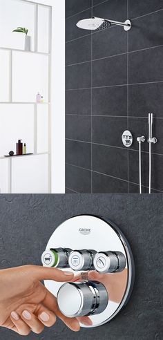 The contemporary design of GROHE GrohTherm SmartControl declutters the shower wall and provides streamlined control of up to three shower functions.