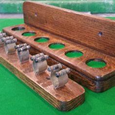 Mid oak antique 6 clip cue rack.B614 | Browns Antiques Billiards and Interiors.