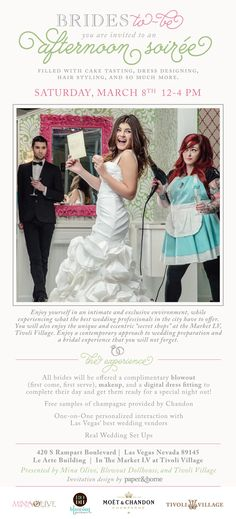 REMINDER! A Contemporary Approach to Wedding Preparation. This Saturday, join us for an afternoon bridal soirée at The Market LV within Tivoli Village Las Vegas! #vegasweddings #weddingplanning #lasvegas