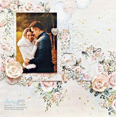 Mintay Papers Haven Collection Wedding Scrapbook Pages, 7th Heaven, Wedding Frames, New Hobbies, Layout Inspiration, Scrapbooking Layouts, Wedding Pictures, Paper Crafts, Romantic