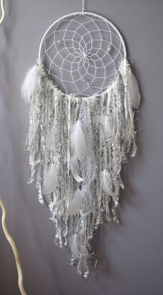 Silver White Dream Catchers, Large Dream Catcher, Wall Hanging Tapestry Dreamcatcher,  Silver White Nursery Home Decor, Baby Shower Gift