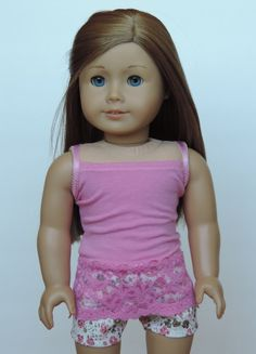 Upcycled Lacey Pink Tank Top  American Girl by HerDollEssentials