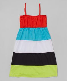 S.W.A.K. Black & Orange Color Block Maxi Dress - Girls | zulily