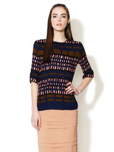 Silk Crepe Crew Neck Printed Blouse by Marni at Gilt