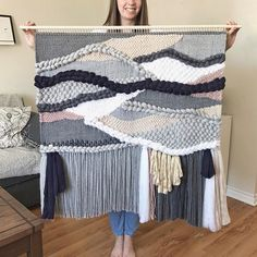 Giant woven wall hanging / wall tapestry made by Blanc Laine (on Etsy). Grey, navy blue, sand, blush with a touch of gold #wovenwallhanging #weaving #statement #tapestry