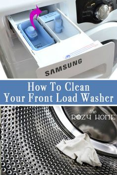 The Great Appliance Clean-Up: How to Clean Your Washer and Dryer Quick and easy tips for cleaning your front load washer and dryer. All you need is a few basic items and a bit of time to have your front load washer smelling like new again! Deep Cleaning Tips, House Cleaning Tips, Diy Cleaning Products, Cleaning Solutions, Spring Cleaning, Cleaning Hacks, Diy Hacks, Cleaning Recipes, Clean Freak