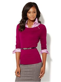 $25 The Button Shoulder Pullover from New York & Company