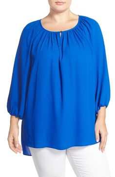 Vince Camuto High/Low Peasant Blouse (Plus Size)