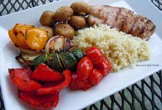 Gourmet Girl Cooks: Grilled Chicken w/ Veggie Kabobs and Cauliflower R...