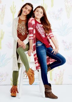 Cool cardi? Check! Embellished top? Check! Besties in boots? Check and check! :-)
