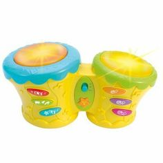 Winfun Groovy Bongo Band by Winfun. $17.99. Rhythm selections, drum soundsand animal sound effects. Two AA batteries included. For ages six months and up. Soft drum pads have flashing lights. Built in demo songs. From the Manufacturer                Baby will be a music lover too with this groovy baby bongo. Touch the soft drum pads and hear drum sounds, animal sound effects and rhythm selections as well as see flashing lights. Nice to have vollume control too...