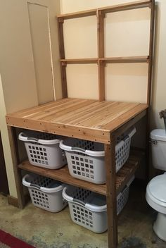 I couldn't find what I wanted to fit in my spot, so we built our own. Laundry Folding Tables, Laundry Room Tables, Laundry Room Signs, Small Laundry Rooms, Laundry Room Organization, Laundry In Bathroom, Basement Laundry, Furniture Makeover, Diy Furniture