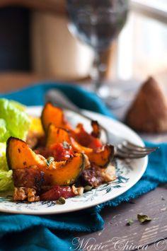 Courge Buttercup juste rôtie au four avec des noix, du cantal et du lard fumé…  ( Sans Gluten, IG moyen )