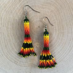 Native American Indian Jewelry - Navajo Beaded  Peyote Stitch Dangle Earrings by AndTheCrow