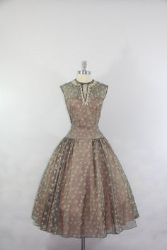 1950's Vintage Dress - Flocked with Bows Gray Pink and Ivory Full Skirt Party Dress on Etsy, $280.00