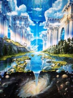 Genesis River Lake Castle Mystical Heaven Gateway Space Time RARE Poster Print