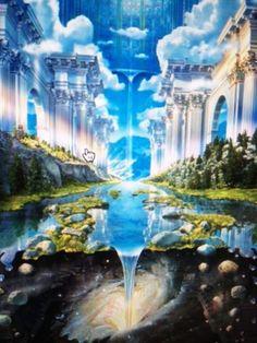 Genesis River Lake Castle Mystical Heaven Gateway Space Time RARE Poster Print