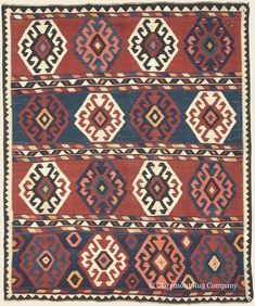 "SHIRVAN KILIM, 7' 3"" x 8' 6"" — Circa 1875 —Price: $6,500, Southeast Caucasian Antique Rug - Claremont Rug Company"