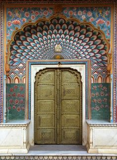 A Qartheen door: peacock and water lily inspired (Amer, Rajasthan, India.)