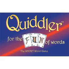 Quiddler the Short Word Card Game: This is a beautiful word game with naturally smooth gameplay that plays fast. These are essentials for a successful game that few word games have. Using special cards, Quiddler draws on one's ability to combine letters into words.  $12.99  http://calendars.com/Card-Games/Quiddler-the-Short-Word-Card-Game/prod1129033/?categoryId=cat430010=cat430010#