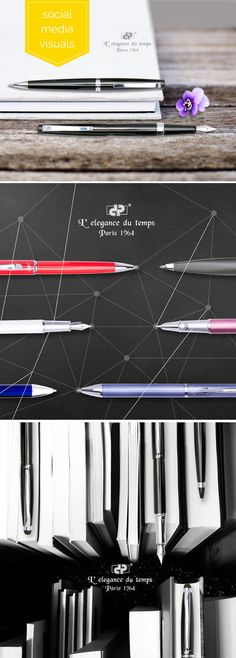 Social media visuals for luxury writing instruments Writing Instruments, Creative Design, Social Media, Luxury, Social Networks, Social Media Tips