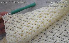 Punto Con Ventaglietti Per Copertine Baby Afghan Crochet Patterns, Easy Crochet Stitches, Baby Blanket Crochet, Crochet Baby, Diy Crafts Knitting, Diy Crafts Crochet, Sunburst Granny Square, Popular Crochet, Fillet Crochet
