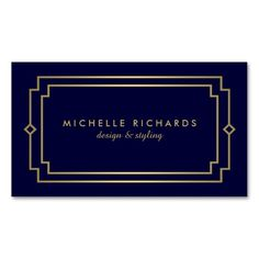 Professional Vintage Art Deco Elegant Gold, Navy Business Cards
