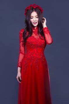 Traditionally, Vietnamese brides wear red ao dai on their wedding day