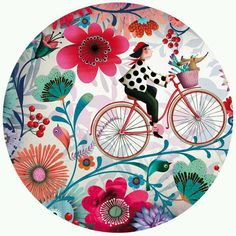 Illustration Education education next Pottery Painting Designs, Paint Designs, Ceramic Painting, Ceramic Art, Decoupage, Bike Drawing, Bicycle Art, Art Et Illustration, Bicycle Illustration