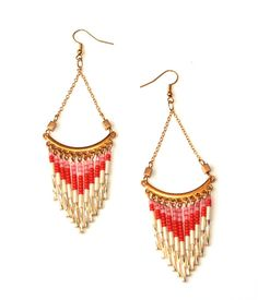 "Boucles d'oreille ""Indiennes"" triangles-tubes / orange-blanc-doré"