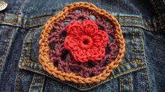 Granny hexagon brooch pin with flower detail by crochetclare, £9.50