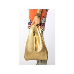 Baggu The Small Leather Bag in Gold ($96) ❤ liked on Polyvore