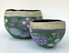 Winter seed head bowls in green and purple multi layered glaze by Mollie Brotherton