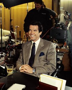 Pierce Brosnan on the set of Goldeneye