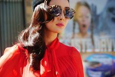 red, hat, tortoiseshell sunglasses