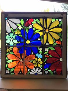 glass on glass mosaic Antique Stained Glass Windows, Stained Glass Flowers, Faux Stained Glass, Mosaic Windows, Mosaic Art Projects, Stained Glass Projects, Stained Glass Patterns, Diy Projects, Painted Window Panes