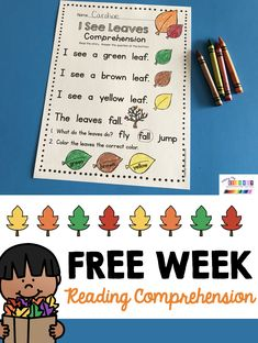 FREE WEEK Reading passage with comprehension questions - emergent reader - writing cut and paste pro Kindergarten Freebies, Kindergarten Reading, Preschool Kindergarten, Kindergarten Centers, Reading Passages, Reading Comprehension, Comprehension Questions, Preschool Themes, Literacy Activities