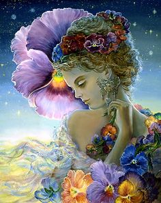 Pansy by Josephine Wall  In the garden of our hearts, where memories grow, warm thoughts unfold and bring us cheer, like bright pansy blossoms, sunny and sweet, as we fondly remember those we hold dear.