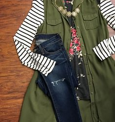 Queen of the World 👑✨💗xoxo >>>Dressed to impress •Olive military button up ($62) •Statement Necklace ($22) •Denim (SALE) •Floral T ($33)<<<Pair with knee high boots; booties; peek toe shoes for alternative looks. .  For immediate assistance or to ORDER call ☎️701-356-5080 (We Ship 📦