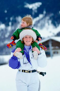 Sarah, Duchess of York, United Kingdom, 1992  Sarah Ferguson, Duchess of York, carries Princess Eugenie of York on her shoulders during a holiday in Klosters