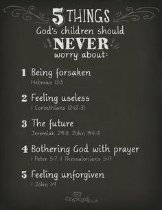 Never worry Bible verses