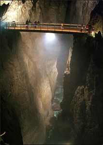 Skodjan caves - Slovenia. The bridge across the canyon, 100 meters above the water