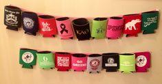 Cute way to display your favorite koozies.  #KappaAlphaTheta