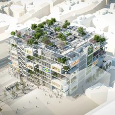 IKEA plans new city store in vienna, complete with green façades and no car parking Architecture Office, Futuristic Architecture, Architecture Design, Architecture Visualization, Office Buildings, Chinese Architecture, Residential Architecture, Contemporary Architecture, Parking Plan