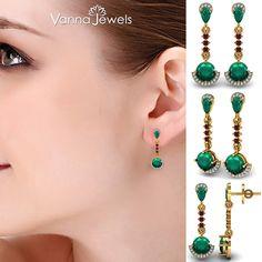 Certified Diamond Dangle Earrings Solid Gold Emerald Ruby Wedding Jewelry