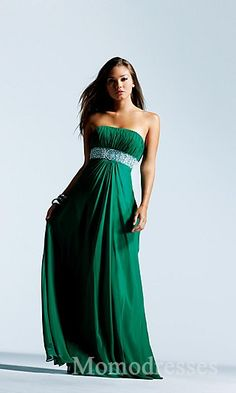 Fashion Chiffon Green A-Line Tube Evening Dress momodresses25412