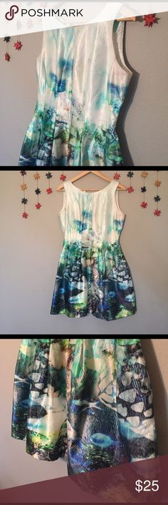 """ZARA Womens Under the sea ocean DRESS Size L In Great Condition!! Awesome under the sea dress. Bust: 17"""" Waist: 14"""" Length: 33"""" Fits like a size 8 Zara Dresses Mini"""