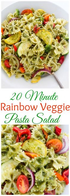 20-Minute Rainbow Veggie Pasta Salad - incredible flavor FAST!
