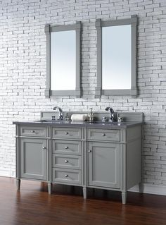 Contemporary 60 inch Double Sink Bathroom Vanity Gray Finish No Top http://www.listvanities.com/grey-bathroom-vanities.html his beautiful piece of furniture includes one hide-away tip out, top row drawer plus two full-depth side drawers, one of which is double-height for storage of taller items. This cabinet also has one door, which conceals an interior shelf, for ample storage. Hand crafted in Birch solids and Birch veneers with Satin Nickel