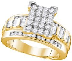 10kt Yellow Gold Womens Round Natural Diamond Cinderella Cluster Bridal Wedding Engagement Ring 1.00 Ctw